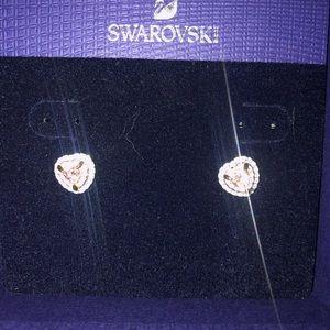 SWAROVSKI ROSE GOLD HEART STUD EARRINGS